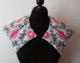 Heating Pad Neck Shoulder /Hot or Cold Therapy Wrap/  Scented or Unscented/Pink Gray Tiles