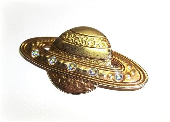 JJ Saturn Space Planet Rings pin brooch Jonette Jewelry gold