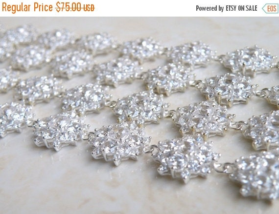 Mega SALE Bridal Bracelet Cushion Cubic Zirconia Sterling Silver IB1