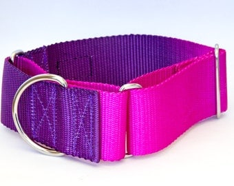 "Dog Collar - ""Purple Haze"" ( Purple & Pink Custom Hand Dyed ) 5/8"" - 2"" Widths"