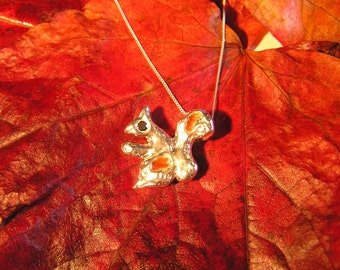 Cute Red Squirrel Necklace - Solid Silver