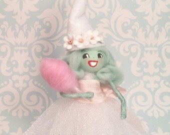 Fairytale fall witch ornament pastel pink mint green Halloween ornament cotton candy party decor vintage retro inspired toni kelly