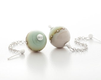 light green earrings, handmade lampwork glass, fine silver and sterling silver, dangle style, artisan jewelry