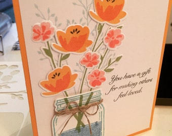 Jar of Love Bouquet Card - One Card with Envelope