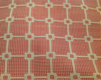 2 1/2 Yards of Vintage Red and White Lattice Work Polyester Fabric