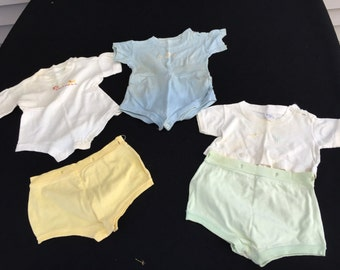 Mixed Lot of Vintage 1960's Era Baby Onesies, Shirt and Bottoms