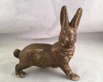 Vintage Paper Mache Rabbit Candy Container Easter with Glass Eyes