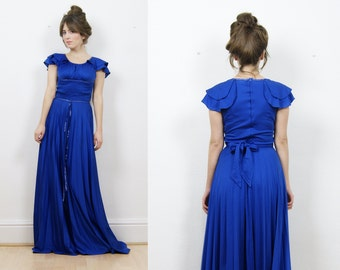 70s maxi dress, prom dress, royal blue, boho maxi dress, 70s boho maxi dress, silky dress, party dress, 70s dress, vintage maxi dress