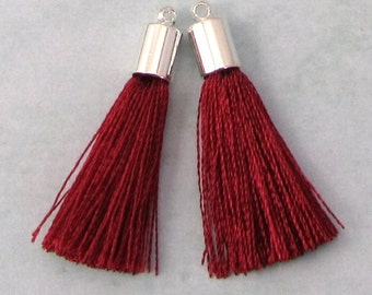 Silky Tassel Pendant, Wine Red, Silver Cap, 30 MM, 2 Pieces, AS391