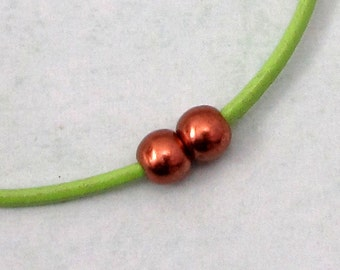 Antique Copper Brass Magnetic Ball Clasp & Cord End, 6MM, 2 Sets, AC195