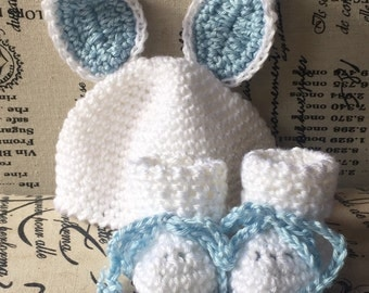 Handmade Bunny Hat Set Newborn to 3 months in White and Blue