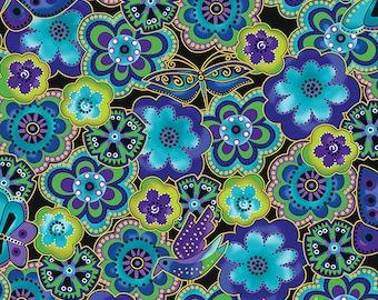 Laurel Burch Fabric Dog & Doggies All over Flowers Dragonflies Green Blue Y1801-34M