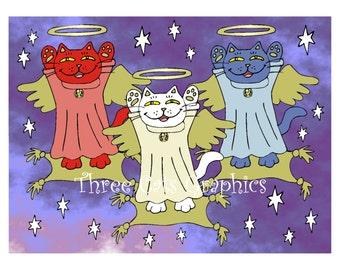 Red, White, and Blue Guardian Angel Nekos  - Choose from ACEO Print, Note Cards, or Art Print