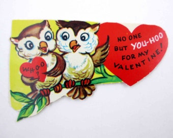 Vintage Unused Children's Novelty Valentine Greeting Card with Two Cute Owls on Tree Branch