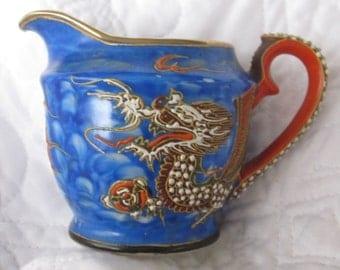 Moriage Porcelain Dragonware, handcrafted blue creamer