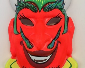 Vintage Halloween  Mask, red devil, scary mask