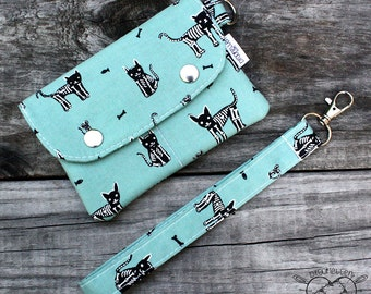 Wallet Wristlet Clutch SMALL Kitty Skeletons Made To Order