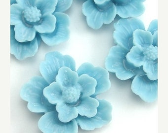 50% Off Sale Plastic Sakura Flower Cabochons - Light Blue - 22mm (4) PC092
