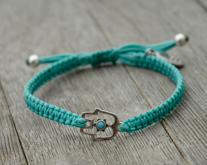 Turquoise Hamsa Bracelet with Turquoise Swarovski Crystal For Protection and Good Luck