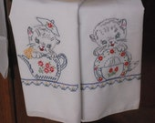 Kittens and Dishes - Hand Embroidered Tea Towels-Kitchy and Cute