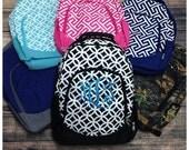 Personalized Student Backpack - Greek Key Pattern