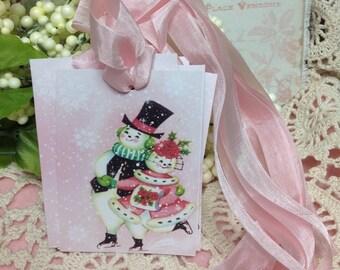 Set of 6 Vintage  Christmas  Snowman And Girl Gift Tags