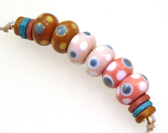 Handmade Lampwork Glass Beads - Ophir! 3 pairs. Dotties in caramel, pale peach, salmon peach. Stacked dots, earring pairs, black and white.