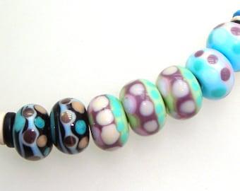 Handmade Lampwork Beads. Folkstone! 7 bead set (2 pairs & a trio). Lines, dots, on black, celery, sky.