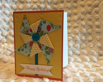 Handmade birthday card with envelope. Blank inside for a personal message.