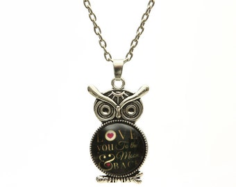 SALE I Love You to the Moon and Back Owl Pendant Necklace     Womens Jewelry Girls