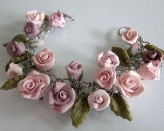 Rose Garden Bracelet, Handmade Polymer Clay Rose Bracelet, Flower Bracelet, Shabby Chic Flower Bracelet, Wedding Bracelet, Rose Jewerlry