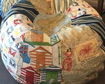 NEW VW buses multi print bean bag with surfboards, stripes, cabana, travel postcard and map prints