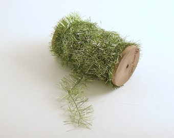 Green Tinsel Garland Wood Spool