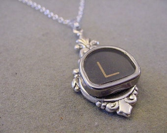 Typewriter Key Jewelry Necklace Letter L - Tombstone Shaped Typewriter Key Necklace Initial Necklace L