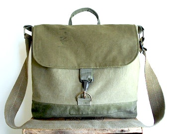 Military canvas lg messenger cross body, laptop, book bag - eco vintage fabrics