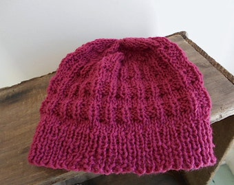 SALE Hand knit wool beanie, skull cap - raspberry berry dark rose - girl teen women