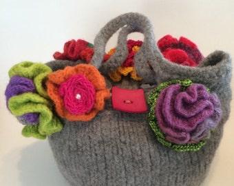 Flower Garden Wool Felt Handbag