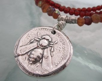 Handcrafted Silver Reversible Ancient Bee and Leaf Necklace, Mystic Hessonite Garnet and Carnelian