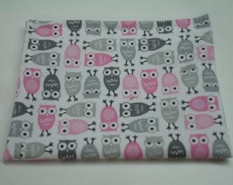 Mini Owls Pink and Gray Reusable Snack Bag