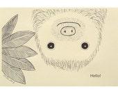 Sloth Print Sloth Illustration Black & White Wall Art Sloth Drawing Home Decor Funny Sloth Cute Sloth Print Jungle Animal Nursery Art 4x6