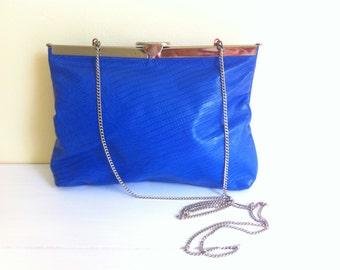 Vintage Cobalt Blue Handbag// Hinged Opening// Shoulder Chain// Faux Alligator// 1980's