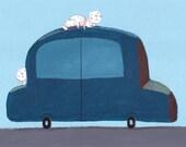 blue car and cats   Original illustration, wall decor, kids room decor, nursery decor