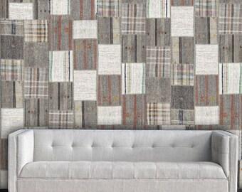 "Tweed Patchwork Easy Peel and Stick Wallpaper 8' Panel (96"")"