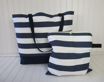 Waterproof Beach Bag - Large Beach Bag - Summer Outdoors -  Wet Bag & Beach Bag Set - Striped Bag - Bikini Wet Bag - Interior Pocket