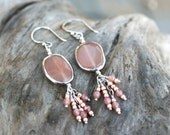 Peach Moonstone and Muscovite Gemstone Tassel Sterling Silver Earrings, Oval Shaped Gemstone Earrings, Tassel Earrings