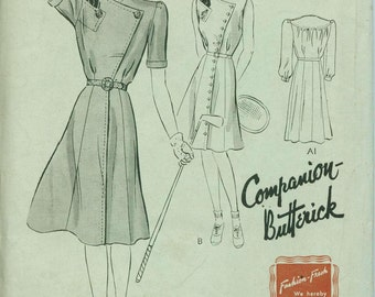 1930s Companion Butterick 1454 Day Dress Sewing Pattern Vintage Size 18 Asymmetrical Button Front Shirtdress Art Deco