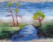 """Wall Hanging Landscape River Trees Needle Felting on Burlap with Driftwood 10.5"""" x 14"""" READY to SHIP"""