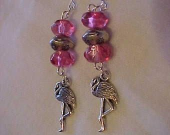 DANGLE Earrings~GLASS Beads~FLAMINGO Bird Charms~~Earrings Just for FuN