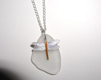 Clear Sea glass Necklace with cloissone Dragonfly