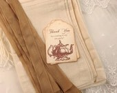 Tea Party Favor Sets DIY Muslin Bags, Teapot Tags, and Ribbon Set of 10